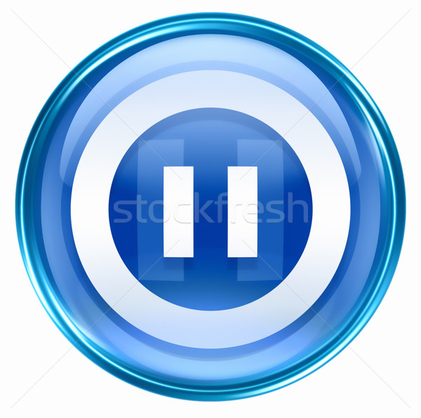 Pause icon blue, isolated on white background.  Stock photo © zeffss