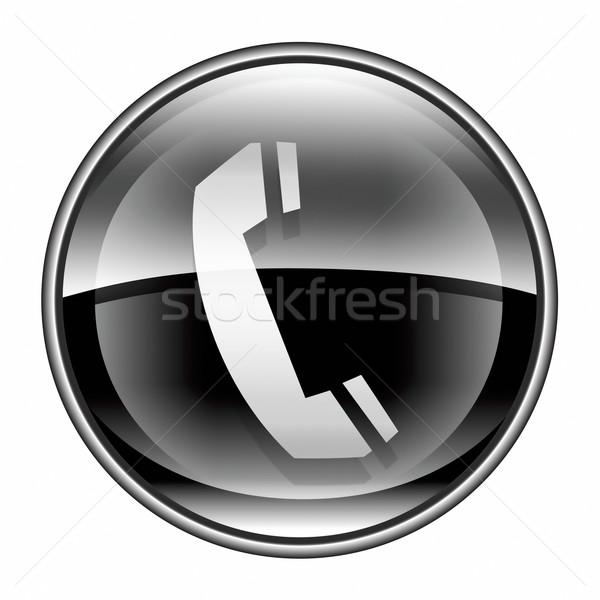Telefoon icon zwarte geïsoleerd witte internet Stockfoto © zeffss