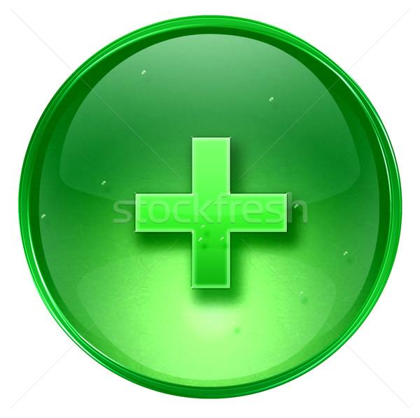 Сток-фото: икона · зеленый · изолированный · белый · компьютер