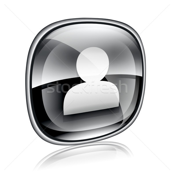 User icon black glass, isolated on white background Stock photo © zeffss