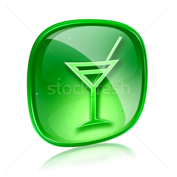 wine-glass icon green glass, isolated on white background. Stock photo © zeffss
