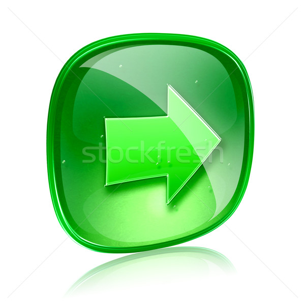 Arrow right icon green glass, isolated on white background. Stock photo © zeffss