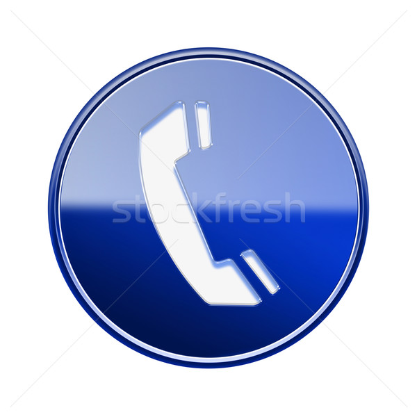 Phone icon glossy blue, isolated on white background stock
