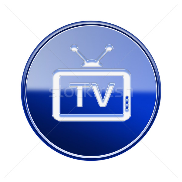TV icon glossy blue, isolated on white background Stock photo © zeffss