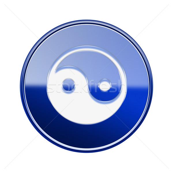 Yin yang simbolo icona lucido blu isolato Foto d'archivio © zeffss