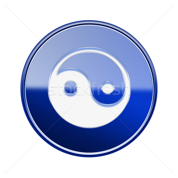 yin yang symbol icon glossy blue, isolated on white background. Stock photo © zeffss