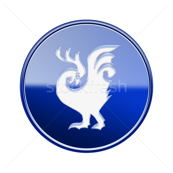 Cock Zodiac icon blue, isolated on white background. Stock photo © zeffss