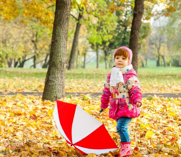 Stock fotó: Kislány · sétál · park · esernyő · tavasz · természet