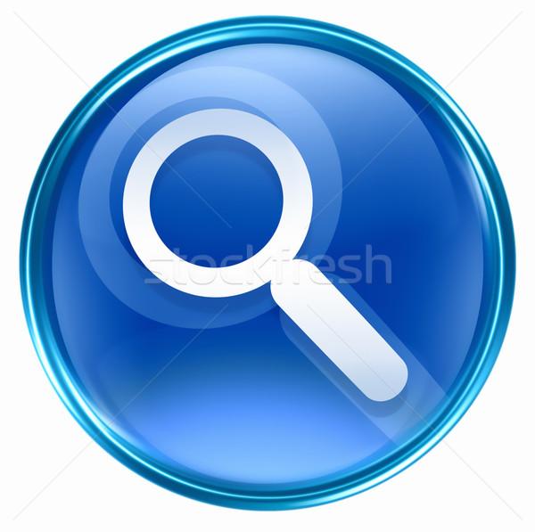 Stock fotó: Keresés · nagyító · ikon · kék · izolált · fehér