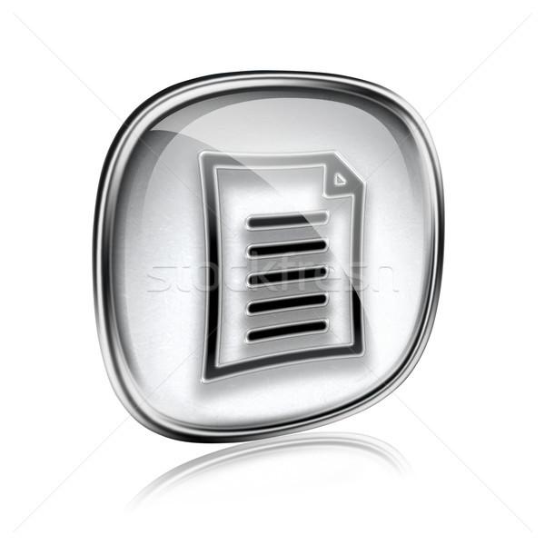 Сток-фото: документа · икона · серый · стекла · изолированный · белый