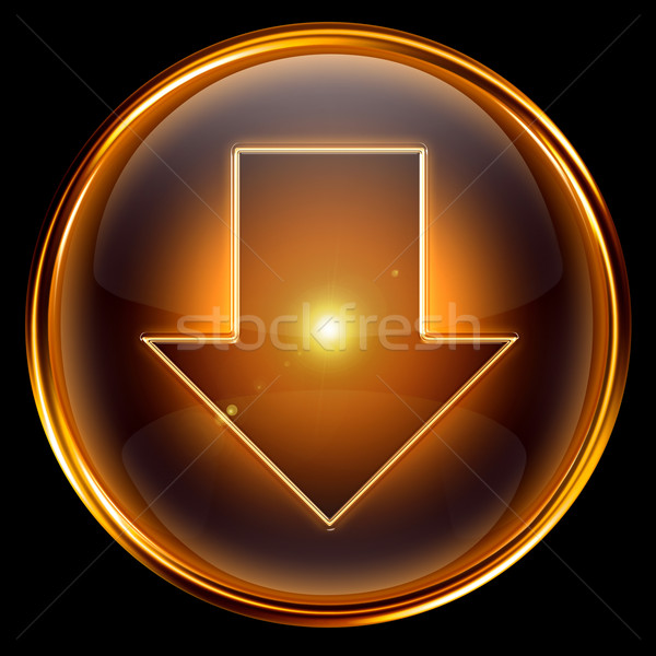 Arrow Down icon golden. Stock photo © zeffss