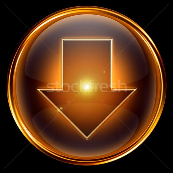 Pijl beneden icon gouden geïsoleerd zwarte Stockfoto © zeffss