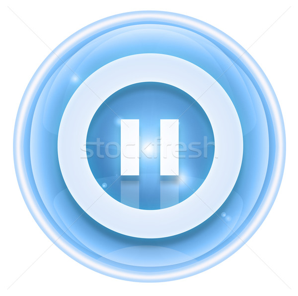 Pause icon ice, isolated on white background. Stock photo © zeffss