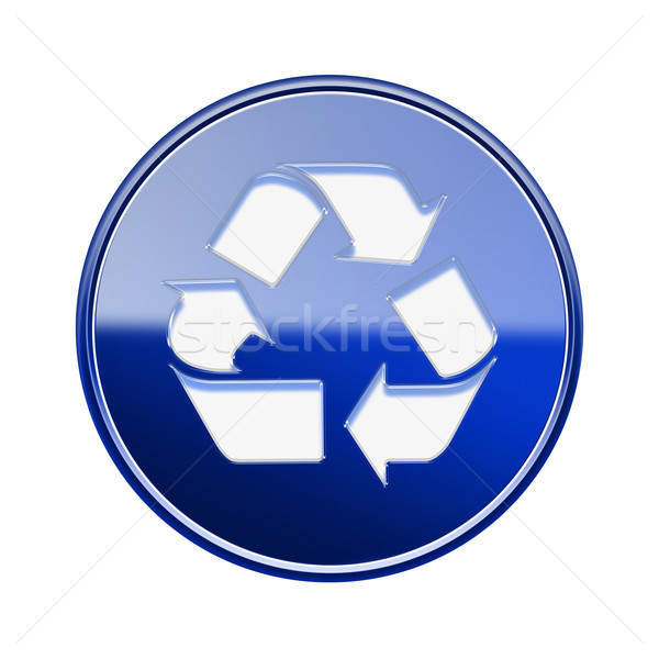Recycling symbol glossy icon blue, isolated on white background Stock photo © zeffss