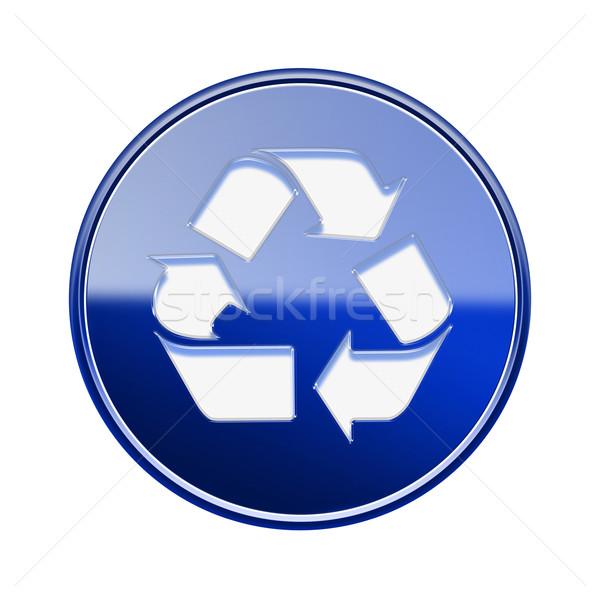 Foto stock: Reciclagem · símbolo · ícone · azul · isolado