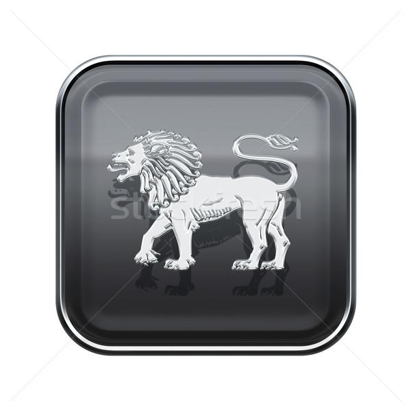 Foto stock: Leão · zodíaco · ícone · cinza · isolado · branco