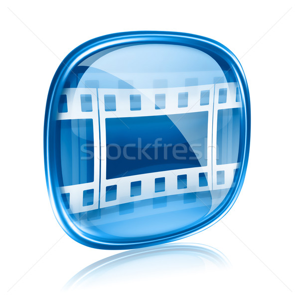 Film icon blue glass, isolated on white background. Stock photo © zeffss