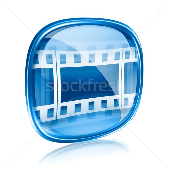 Film icon Blauw glas geïsoleerd witte Stockfoto © zeffss