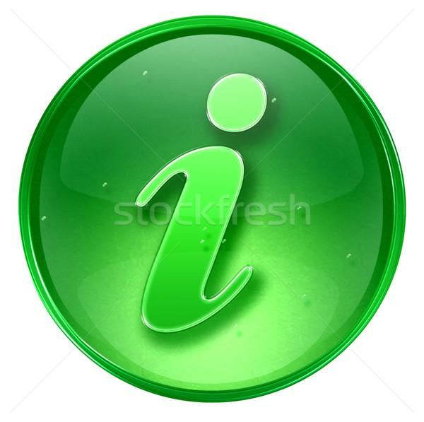 Informatie icon groene geïsoleerd witte internet Stockfoto © zeffss