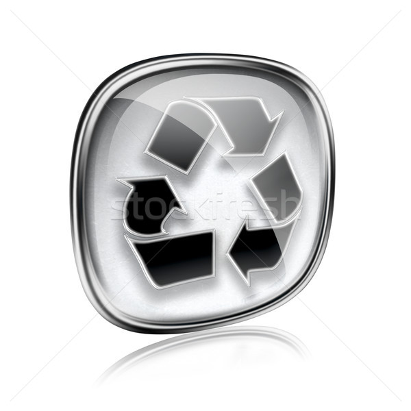 Recycling symbol icon grey glass, isolated on white background. Stock photo © zeffss