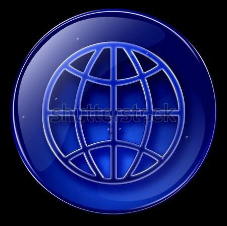 Foto stock: Globo · ícone · escuro · azul · isolado · preto