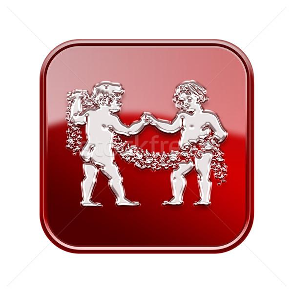 Gemini zodiac icon red, isolated on white background Stock photo © zeffss