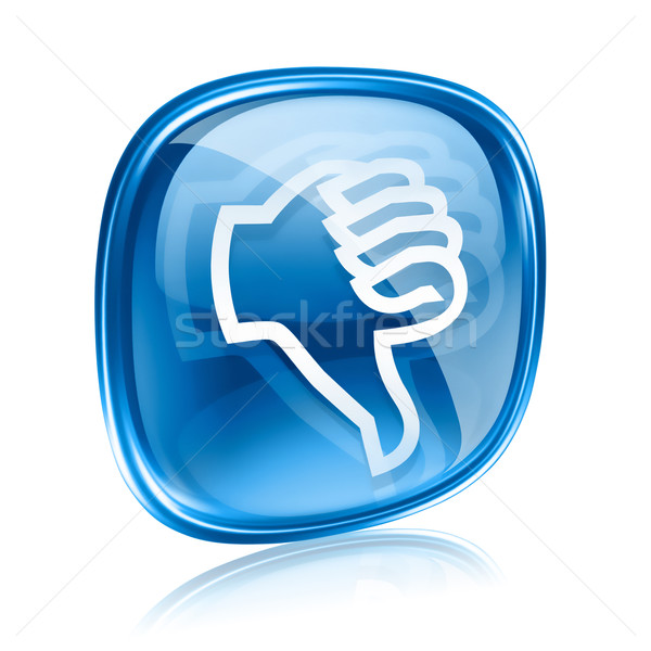 Başparmak aşağı ikon mavi cam yalıtılmış Stok fotoğraf © zeffss