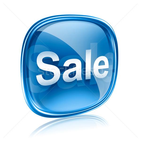 Stock foto: Verkauf · Symbol · Glas · blau · isoliert · weiß