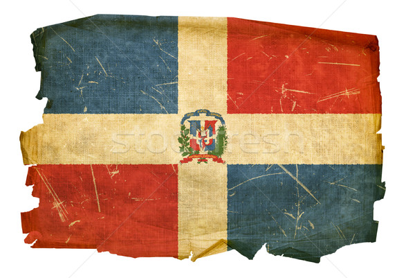 Dominican Republic Flag old, isolated on white background. Stock photo © zeffss
