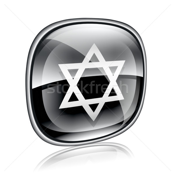 David star icon black glass, isolated on white background. Stock photo © zeffss