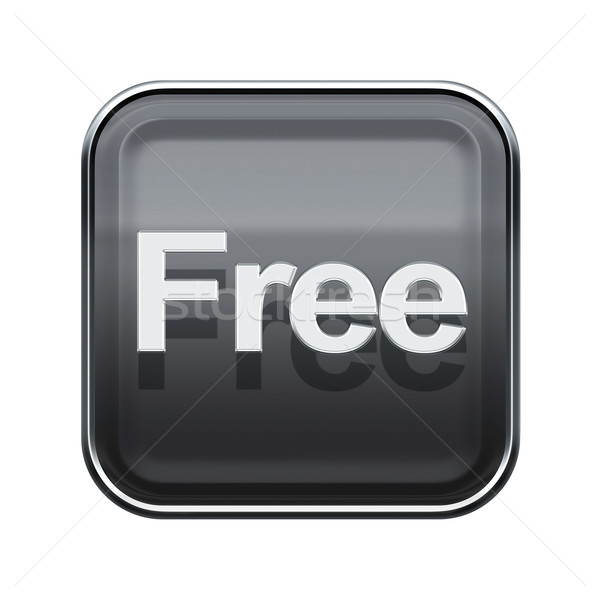 free icon glossy grey, isolated on white background Stock photo © zeffss