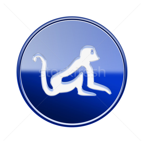 Monkey Zodiac icon blue, isolated on white background. Stock photo © zeffss