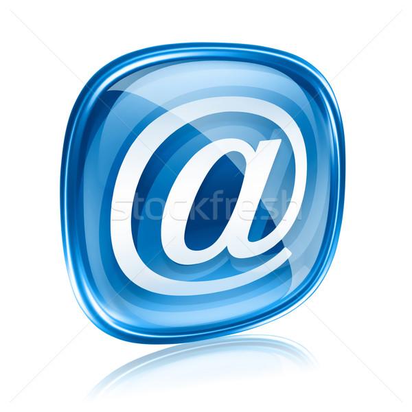 Stock foto: E-Mail · Symbol · blau · Glas · isoliert · weiß
