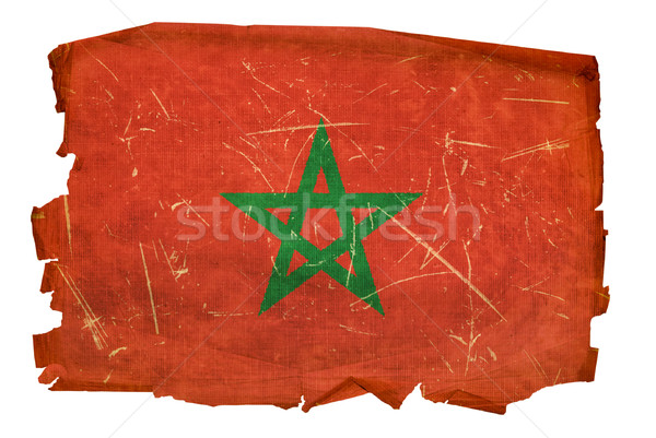 Morocco Flag old, isolated on white background. Stock photo © zeffss