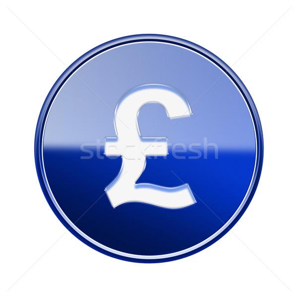 фунт икона синий изолированный белый Сток-фото © zeffss