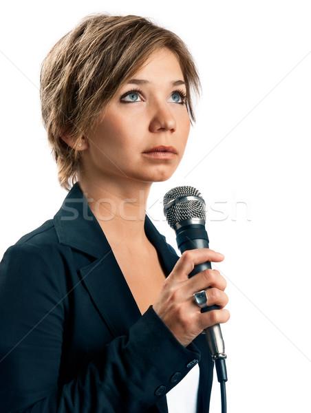 Tv correspondent witte vrouw meisje licht Stockfoto © zeffss