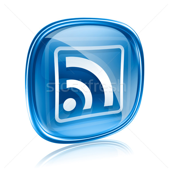 WI-FI icon blue glass, isolated on white background Stock photo © zeffss