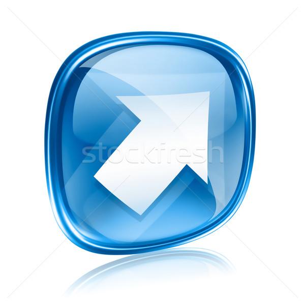 Arrow icon blue glass, isolated on white background Stock photo © zeffss