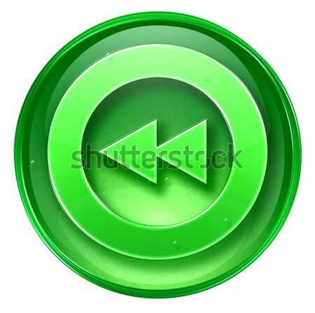 Rewind icon green, isolated on white background. Stock photo © zeffss