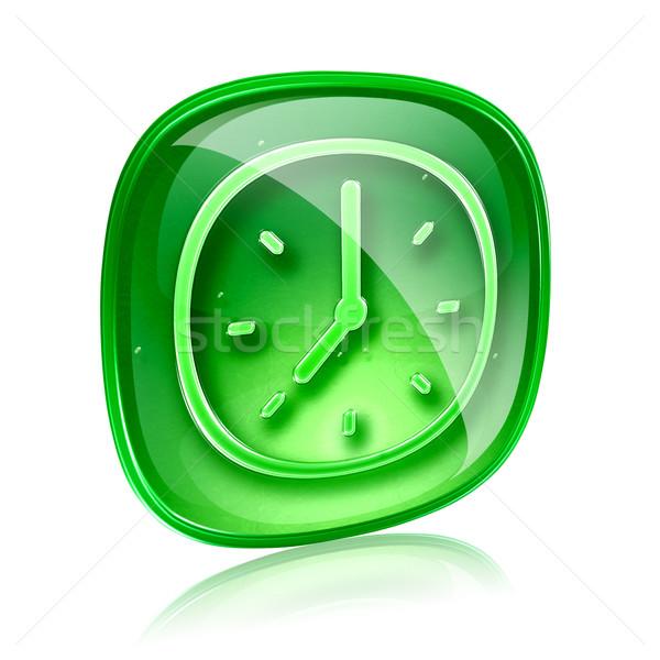 Zdjęcia stock: Zegar · ikona · zielone · szkła · odizolowany · biały