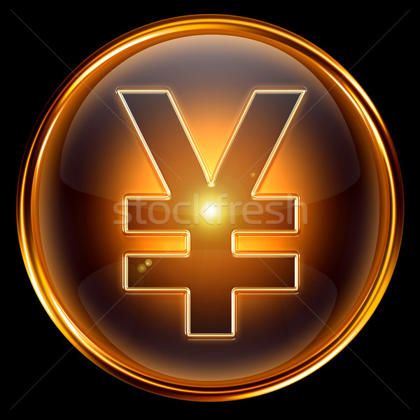 Yen icono dorado aislado negro Internet Foto stock © zeffss