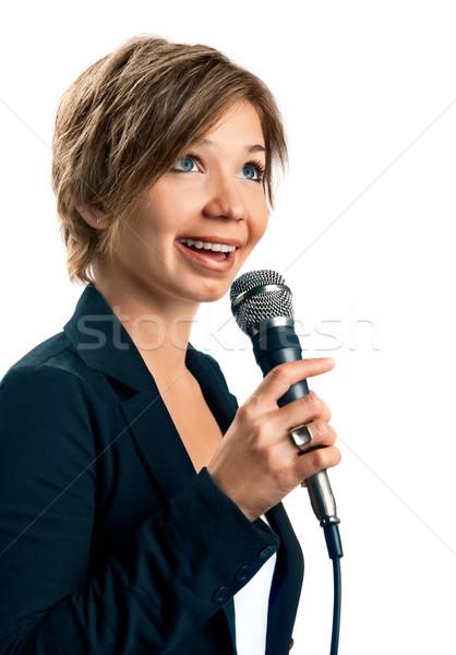 Tv correspondent witte vrouw glimlach licht Stockfoto © zeffss