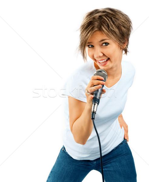 Menina cantando branco mulher música azul Foto stock © zeffss