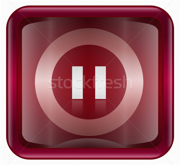Pause icon dark red, isolated on white background Stock photo © zeffss