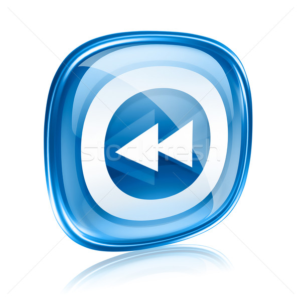 Rewind icon blue glass, isolated on white background. Stock photo © zeffss