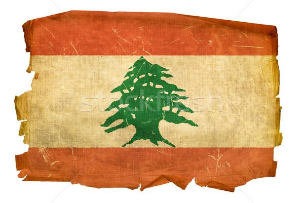 Lebanese Flag old, isolated on white background. Stock photo © zeffss