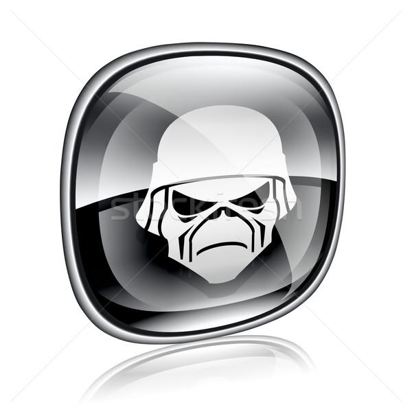 Leger icon zwarte glas geïsoleerd witte Stockfoto © zeffss