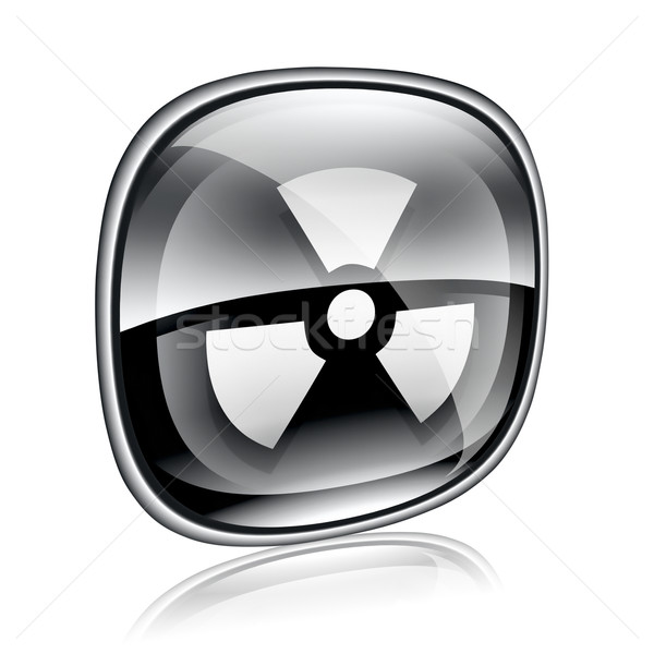 Radioactive icon black glass, isolated on white background. Stock photo © zeffss