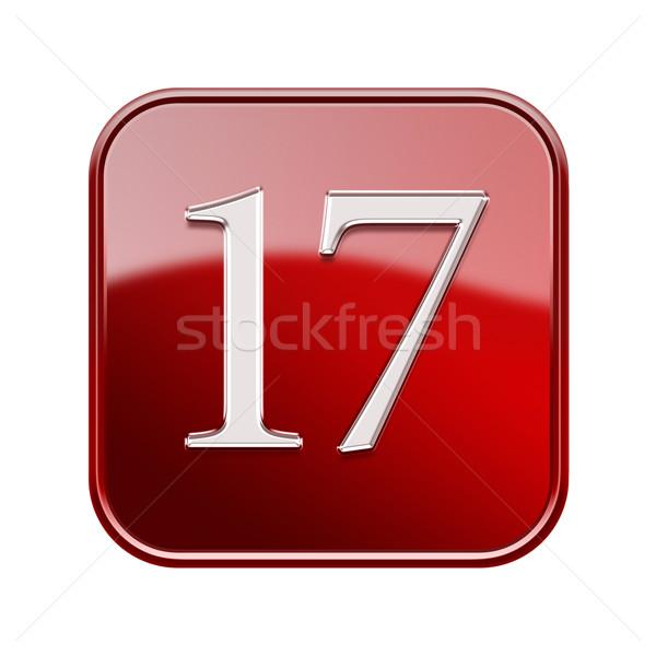 Dezessete ícone vermelho isolado branco Foto stock © zeffss