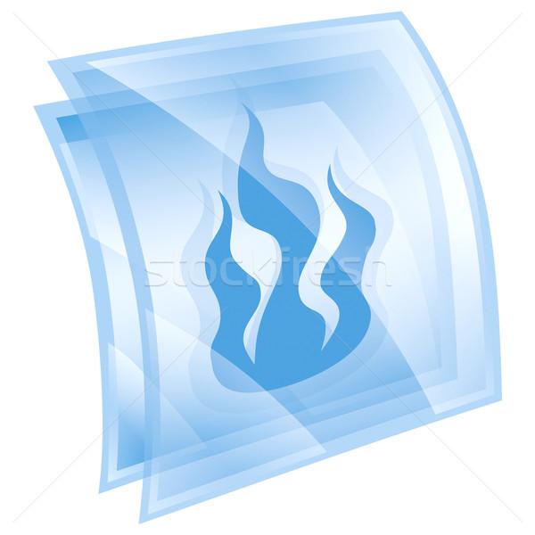 Stok fotoğraf: Yangın · ikon · imzalamak · mavi · yalıtılmış · beyaz